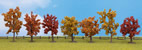 Autumn trees, 7 pcs., approx. 8 - 10 cm high