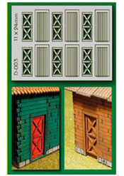 6 pcs 11X24mm Cottage Doors HO/OO