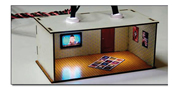 2 pcs Illuminated Rooms w/flat TVs News & Sports (HO/OO kit)