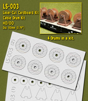 Laser-Cut Cable Drums Kit (4 drums) HO/OO