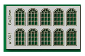 10 pcs 13X22mm 14 Pane Arched Windows HO/OO