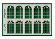 10 pcs 19X35mm 14 Pane Arched Windows HO/OO