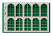 10 pcs 19X35mm 8 Pane Arched Windows HO/OO